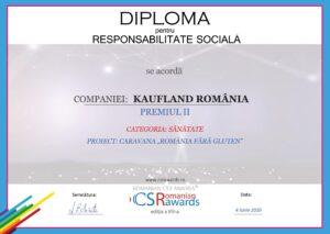 """Proiectul """"Caravana România fără Gluten"""" - premiul al II-lea pentru cea mai bună campanie CSR în domeniul Sănătății"""